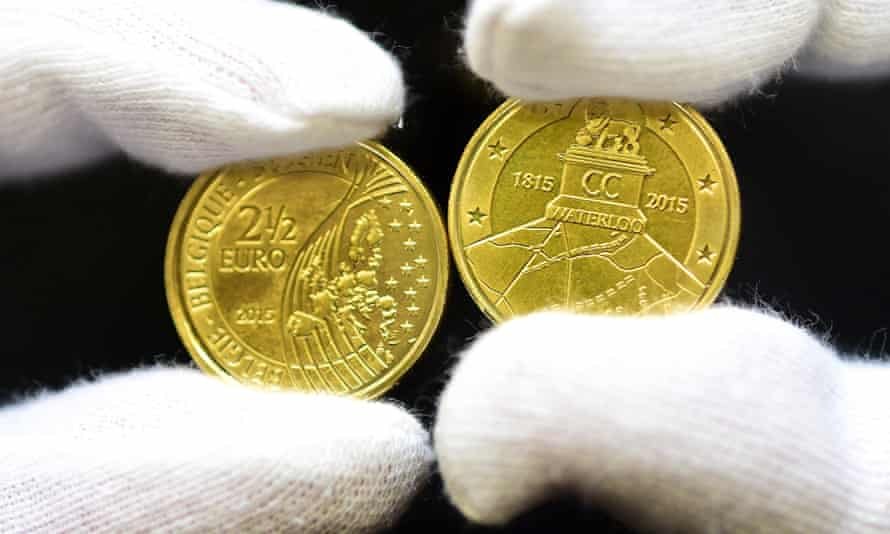The Royal Belgian Mint in Brussels displays the €2.50 coin