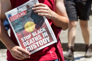 Demonstrators protest the deaths of indigenous Australians during the G20 in Brisbane.
