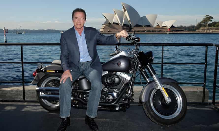 Arnold Schwarzenegger poses during a Terminator Genisys photocall in Australia.