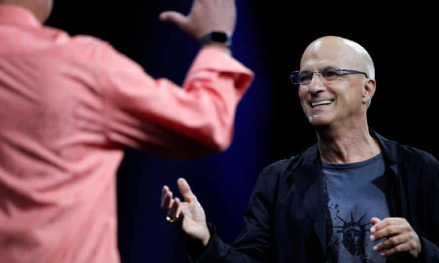 Apple's Jimmy Iovine and Eddy Cue on-stage at WWDC as Apple Music was unveiled.