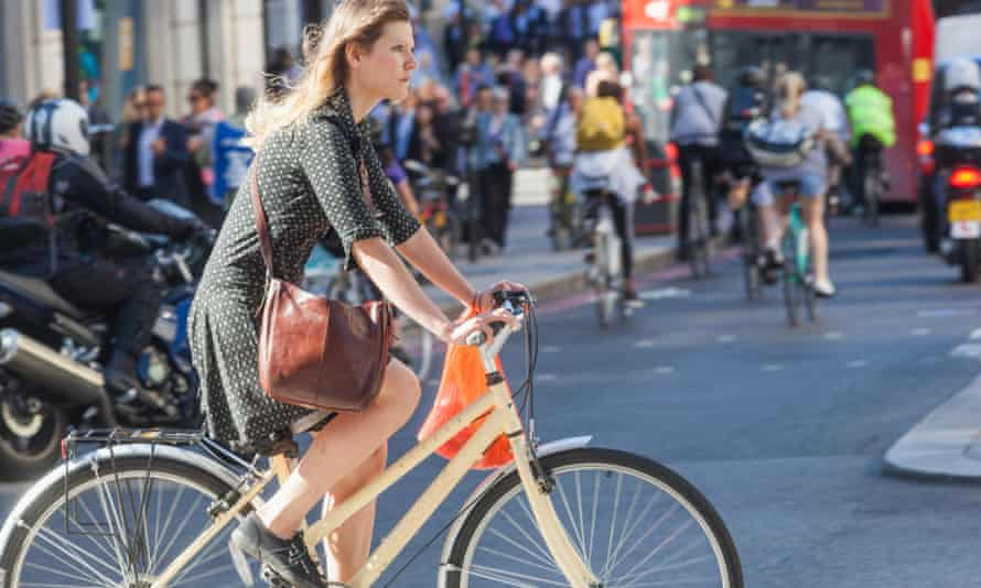 A female cyclist in London
