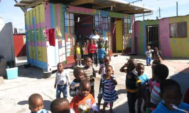 Children outside a Matchbox childcare centre in Cape Town.