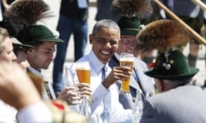Barack Obama with his breakfast beer