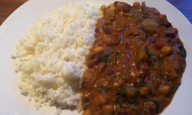 Vegan curry with caulifower couscous.