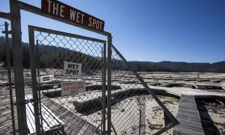 Running dry … drought brings historically low water levels to Huntington Lake, California in 2014.