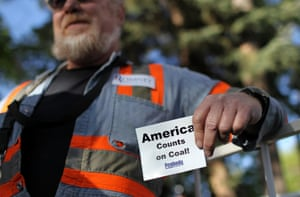 A coal miner holds a sign during a campaign rally for Republican presidential candidate, former Massachusetts Gov. Mitt Romney at Alice Pleasant Park on May 29, 2012 in Craig, Colorado. Mitt Romney will campaign in Colorado and Las Vegas, Nevada.