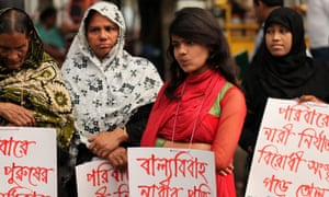 Unicef estimates that in Bangladesh, between 2005 and 2013, 65% of girls were married before the age of 18 … women's organisations protest against child marriage in Dhaka.