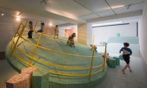 Elements of the concrete playgrounds have been recreated at RIBA HQ using foam