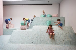 Children are invited to play on the new installation inside the offices