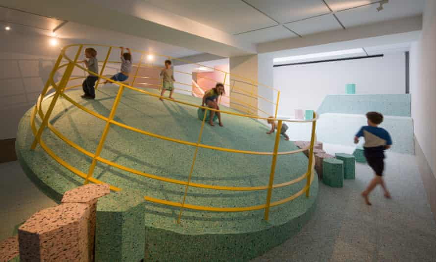 Children playing on Assemble's squidgy-foam re-creation of the Churchill Gardens playground at Riba.