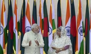 Indian prime minister Narendra Modi with Bangladeshi prime minister Sheikh Hasina: