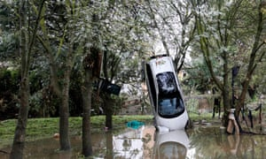 Driven to destruction … a car after heavy floods in Grabels, near Montpellier, France in October 2014.
