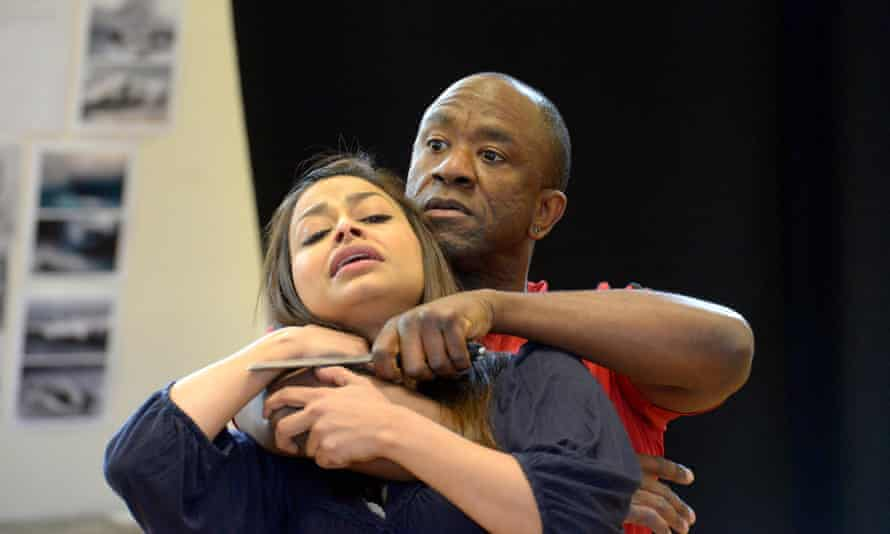Lucian Msamati (Iago) with Ayesha Dharker (Emilia) in Royal Shakespeare Company production ofOTHELLOby William  Shakespearedirected by Iqbal Khan