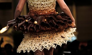 A model presents a creation at the 20th Salon du Chocolat, (Paris Chocolate Show) in Paris