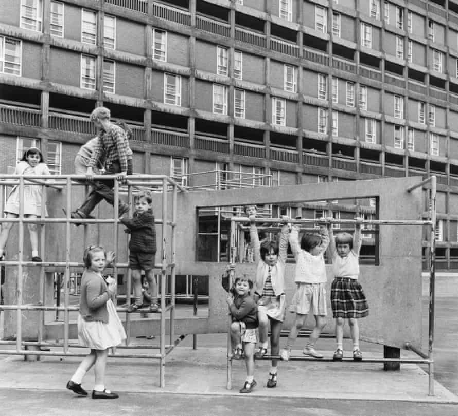 Hard-edged, knee-grazing terrain … a playground on the Park Hill estate in Sheffield in 1963.