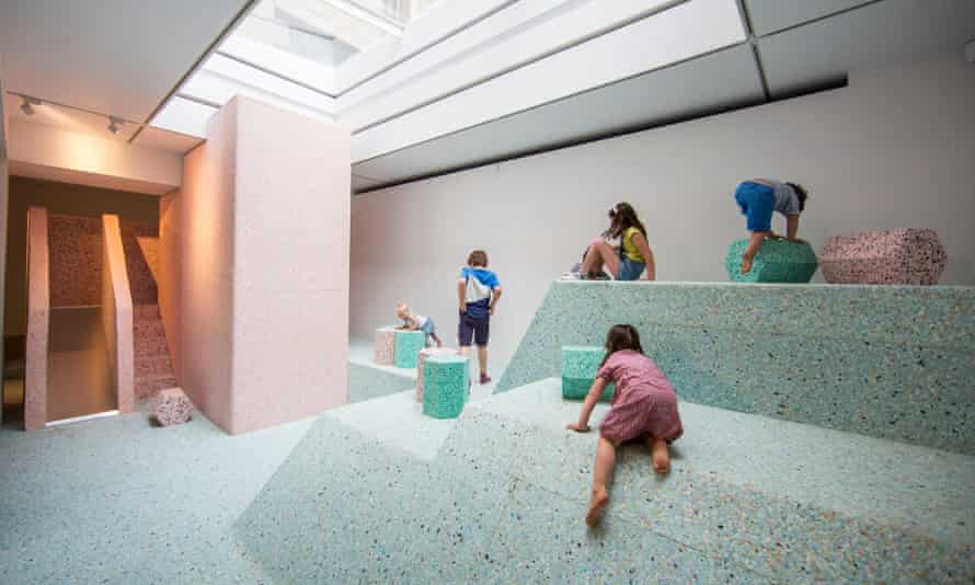 Assemble's foam-block re-creation of a brutalist playground at Riba in London.
