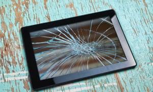 Tablet computer with broken screen