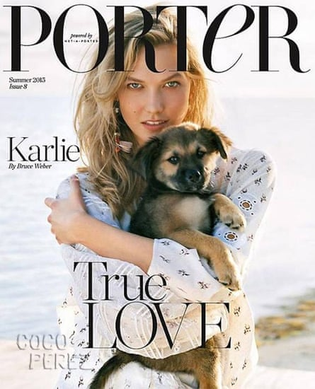 Karlie Kloss with rescue dog, Hollywood, on the Summer 2015 issue of Porter magazine Porter