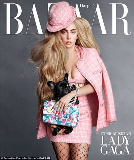 Lady Gaga on the cover of Harper's Bazaar holding her French Bulldog, Asia