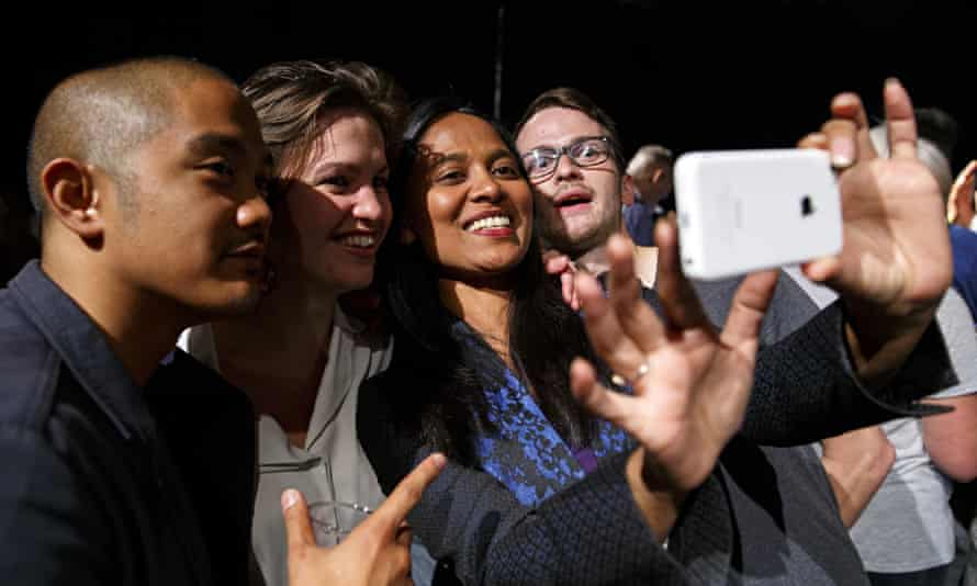Rushanara Ali joins young voters for a selfie