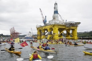 Activists protest against the Shell drilling rig Polar Pioneer in Seattle, Washington, on 16 May 2015.