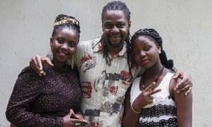 "Newzbeat's host Sharon Bwogi aka Lady Slyke (left), producer Daniel Kisekka aka ""Survivor"" (centre) and rapper 14-year-old Zoe Kabuye in Kampala."