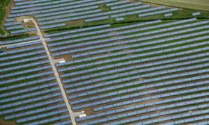 Solar farm in Milton Keynes, Buckinghamshire, UK.