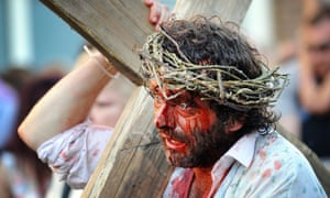 Michael Sheen in day three of the Port Talbot Passion.