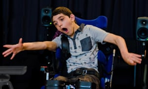 Joe, who has Cerebral Palsy, performs in one of OpenUp Music's accessible youth orchestras.