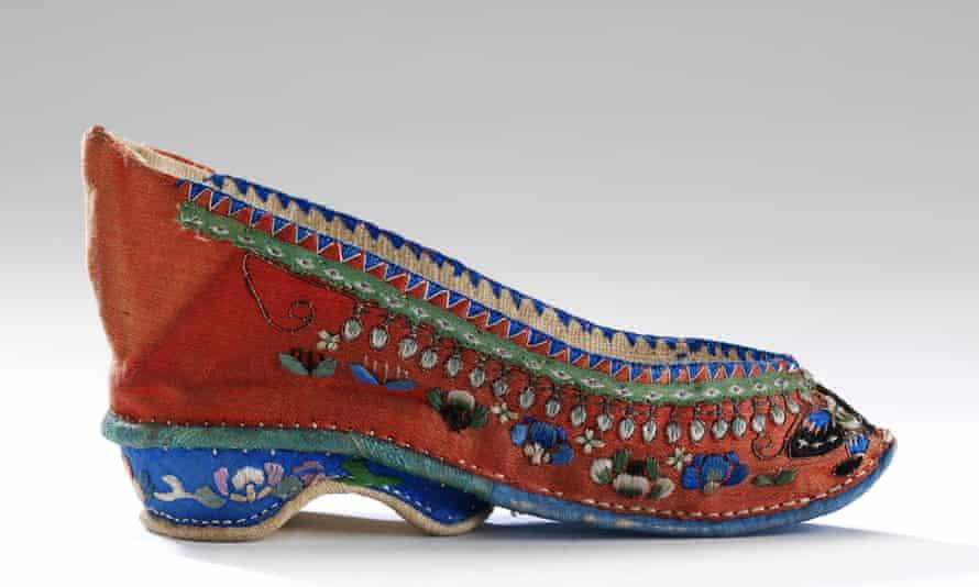A 19th-century 'Lotus' shoe. Footbinding left women's feet 8cm (3 in) long.