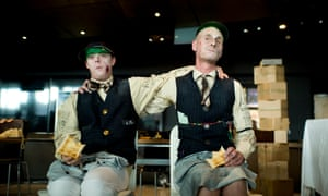 Martin Vick and Denni Dennis in Snooks Brothers Bank, a production by Hijinx Theatre.