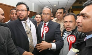 Lutfur Rahman and supporters at his 2010 mayoral election victory in York Hall, Bethnal Green.
