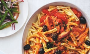 Giorgio Locatelli's tubular pasta with red mullet and black olives