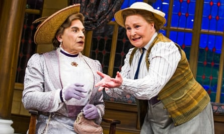 Imperious … David Suchet as Lady Bracknell and Michele Dotrice as Miss Prism in The Importance Of Being Earnest