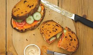 Boots: hummus, carrot and coriander sandwich on tomato bread