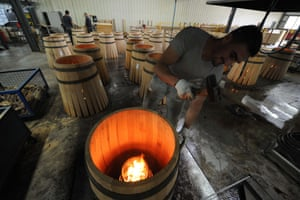 Jonzac, France A cooper makes a wooden barrel at the Radoux cooperage