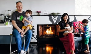 Zaki with husband Brian Tuey and children Cael, Rowan and Hana.