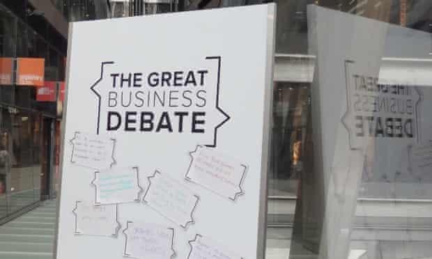 Sandwich board promoting great business debate