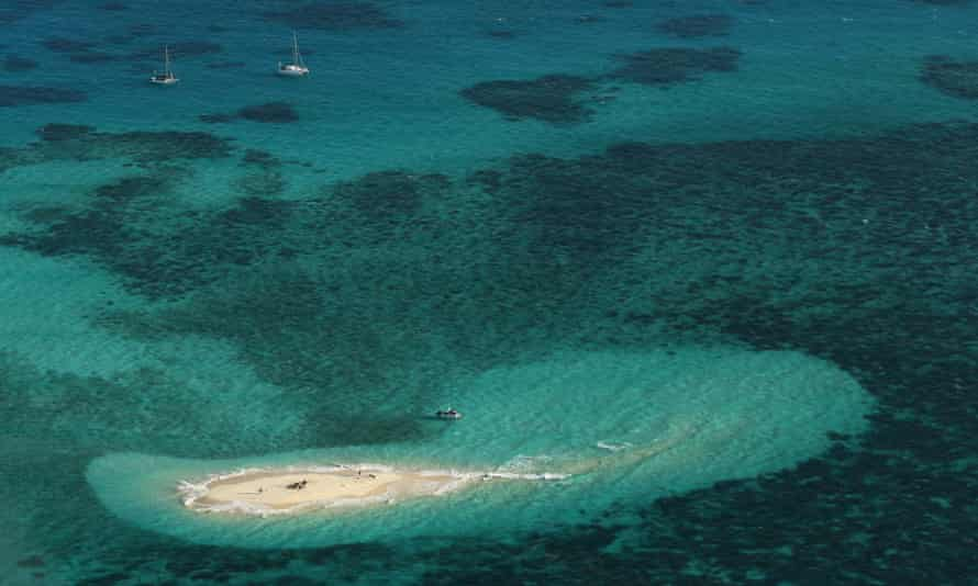 An aerial view of Vlassof Cay in the Great Barrier Reef is seen on November 13, 2012 in Cairns, Australia.