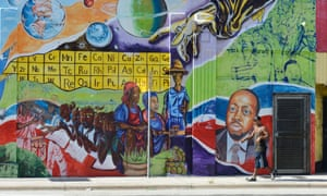 Mural illustrating President of Haiti Michel Martelly, in Little Haiti neighborhood in Miami (2013).