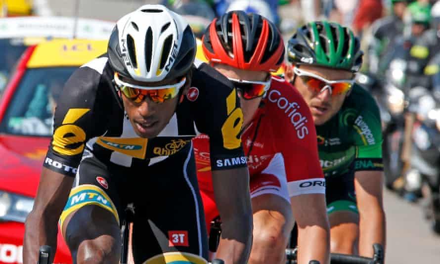 Daniel Teklehaimanot with Europcar rider Perrig Quemeneur and Cofidis's Kenneth Van Bilsen during Wednesday's breakaway.