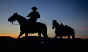 silhouette of Sioux Native American Steven Bruguier at Sheraton Wild Horse Resort in Arizona.
