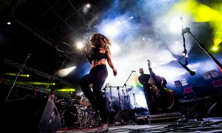 Marina Rei and Carmen Consoli perform at Eutropia festival, Rome, July 2015.