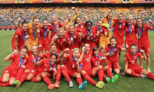 England celebrate taking third place after defeating Germany in the 2015 Women's World Cup in Canada.