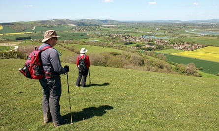 A view of Amberley from the South Downs Way in Sussex