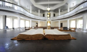 a Bible opened on the judge's desk in the old Monroe County Courthouse in Monroeville.