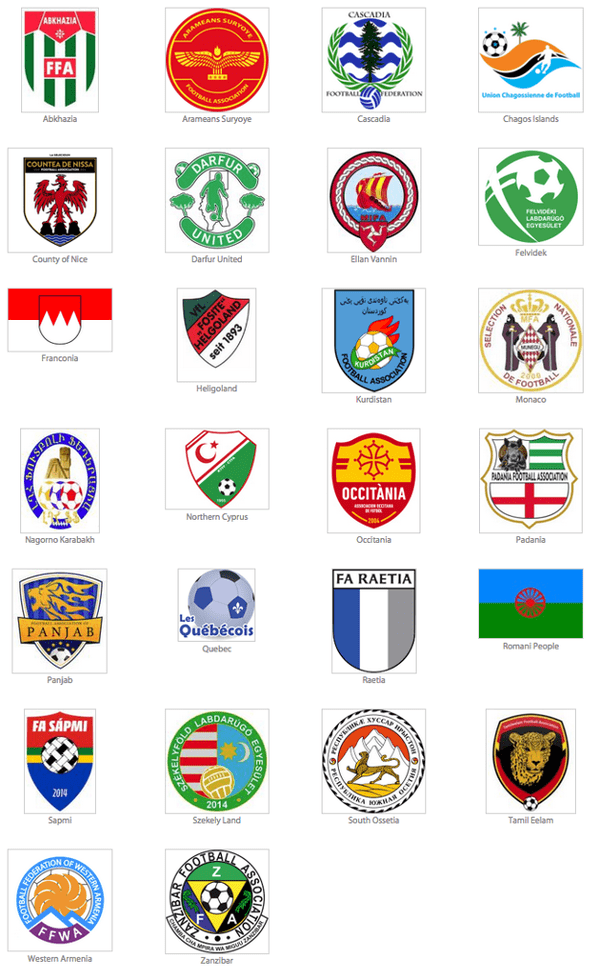 The emblems of the 26 member teams.