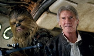 Peter Mayhew and Harrison Ford in Star Wars: Episode VII - The Force Awakens.