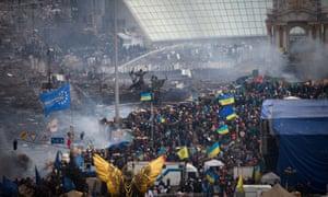 Ukrainians protest against former president Viktor Yanukovych in February 2014.