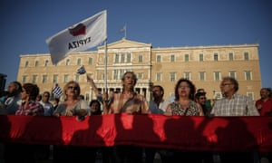 Syriza supporters in front of the Greek parliament